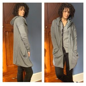 Anama Gray Hooded Open Front Cardigan Small